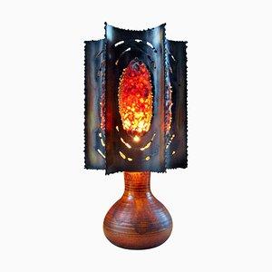 Lámpara de mesa francesa de cerámica y cobre de Accolay, años 60