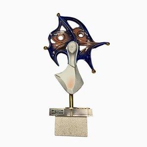 Porzellanskulptur mit Details aus Gold & Silber von Galos, 1990er