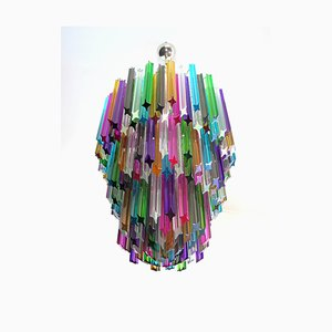 Large Multi Colored Murano Glass Chandelier, 1982