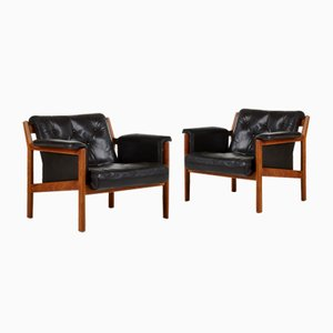 Scandinavian Leather Lounge Chairs by Karl-Erik Ekselius for JOC Vetlanda, 1960s, Set of 2