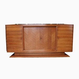 Art Deco Oak and Marble Sideboard by Gaston Poisson, 1940s