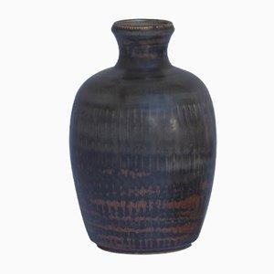 Vaso smaltato marrone di Carl-Harry Stålhane per Rörstrand, anni '60