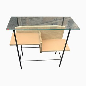 Mid-Century Vinyl and Crystal Console Table