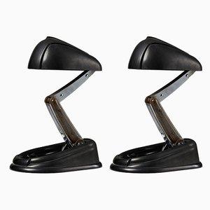 Lampes de Bureau Modèle Bolide par Jumo Brevete pour Jumo, années 40, Set de 2