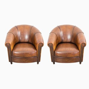 Vintage Leather Club Chairs from Joris, 1980s, Set of 2