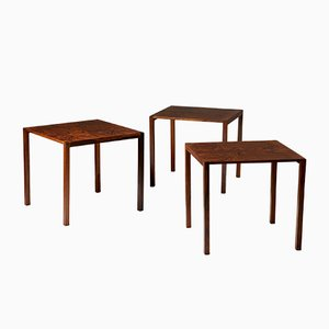 Rosewood Nesting Tables by Ludvig Pontoppidan, 1950s, Set of 3