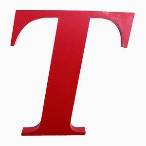 Grande Lettre T en Métal, années 70