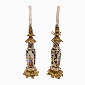 Antike Tischlampe aus Porzellan & vergoldeter Bronze