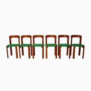Chaises de Salle à Manger Vintage Marron et Vert Miel par Bruno Rey pour Dietiker, années 70, Set de 24