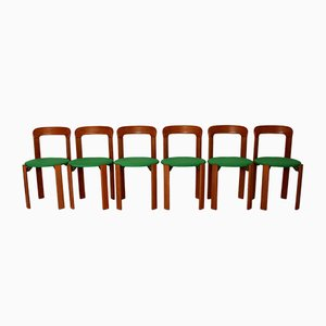 Vintage Honey Brown and Green Dining Chairs by Bruno Rey for Dietiker, 1970s, Set of 24