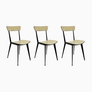 Italienische Vintage Stühle in Schwarz & Cremeweiß, 1950er, 3er Set