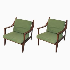Wood Lounge Chairs, 1960s, Set of 2