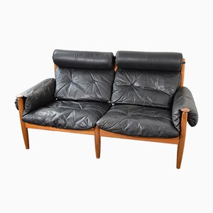 Black Leather 2-Seater Sofa, 1970s