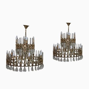 Gold Chandeliers by Gaetano Sciolari for Sciolari, 1970s, Set of 2