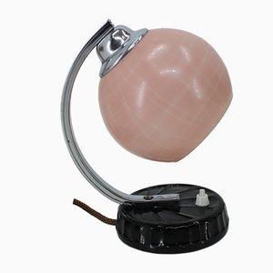 Art Déco Tischlampe mit rosafarbenem Lampenschirm, 1930er