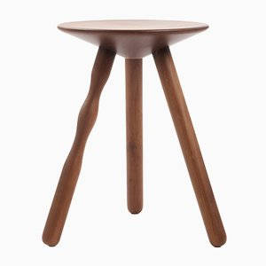 Small Stained Walnut Luco Stool by Martín Azúa for Mobles 114