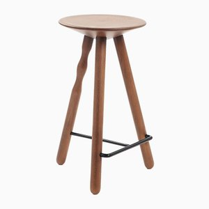 Medium Stained Walnut Luco Stool by Martín Azúa for Mobles 114