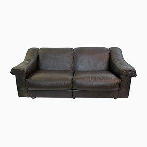 Sofá de dos plazas vintage de cuero marrón de Vatne Mobler