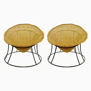 Vintage Woven Rattan & Metal Club Chairs, Set of 2