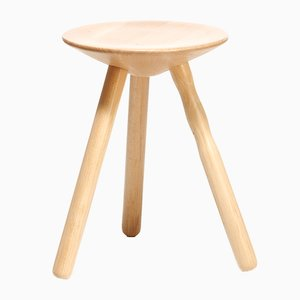 Small Beech Luco Stool by Martín Azúa for Mobles 114