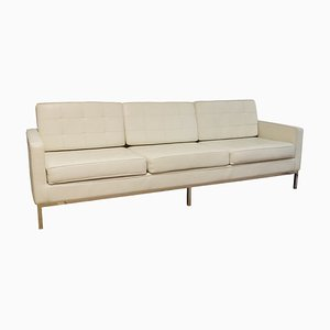 Vintage White Leather 3-Seater Sofa with Steel Frame