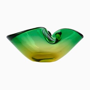 Green and Orange Murano Glass Bowl, 1960s