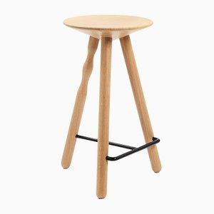 Medium Oak Luco Stool by Martín Azúa for Mobles 114