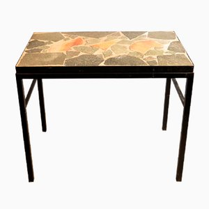 Modernist Black Metal & Stone Side Table, 1950s