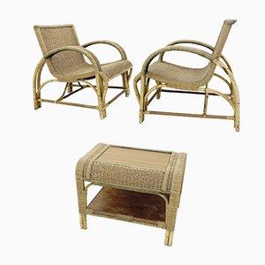 Fauteuils et Table Vintage en Bambou et Corde, Set de 3