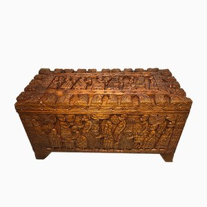 Oriental Wood Trunk or Coffee Table, 1970s