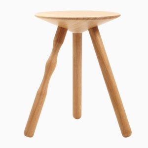 Small Oak Luco Stool by Martín Azúa for Mobles 114
