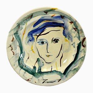 Großer dekorativer Keramikteller von Treccani Ernesto für Rossicone Ceramiche, 1970er