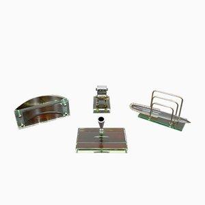 Italienisches Schreibtischset aus Kristallglas von Fontana Arte, 1950er, 4er Set