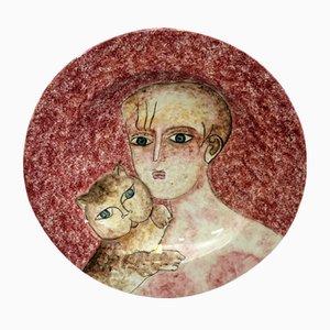 Piatto decorativo in ceramica di Gentilini Franco per Ceramiche Rossicone, anni '70