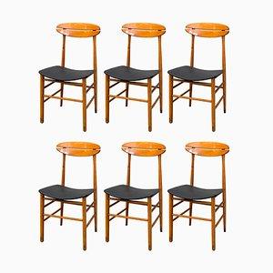 Italienische Esszimmerstühle aus Holz, 1950er, 6er Set