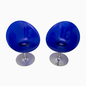 Blue Lucite Swivel Chairs by Philippe Starck for Kartell, 1990s, Set of 2