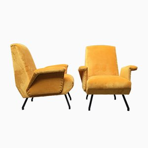 Italian Yellow Velvet Armchairs, 1960s, Set of 2