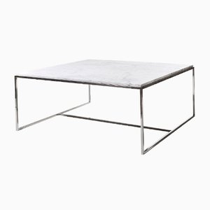 Stainless Steel & White Marble Square Coffee Table by Jacobo Ventura