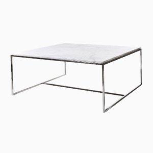Table Basse Carrée en Acier Inoxydable et Marbre Blanc par Jacobo Ventura