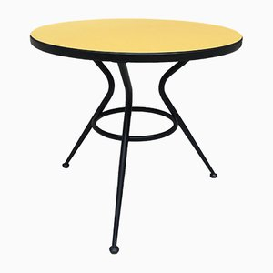 Italian Yellow Formica and Metal Rod Coffee Table, 1960s