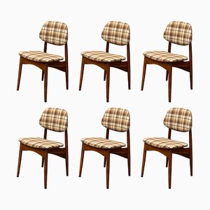 Italian Plaid Dining Chairs, 1960s, Set of 6