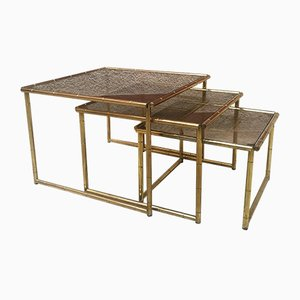 Italian Golden Metal and Smoked Glass Nesting Tables Set, 1970s