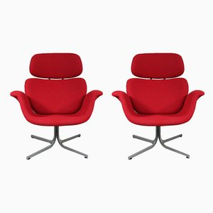 Dutch Red Tulip Lounge Chairs by Pierre Paulin for Artifort, 1950s, Set of 2