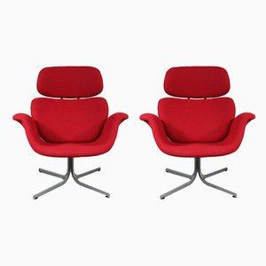 Rote niederländische Tulip Sessel von Pierre Paulin für Artifort, 1950er, 2er Set