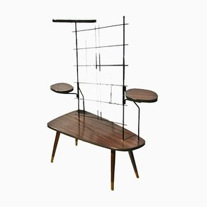 Mid-Century Brown & Black Plant Table with Hairpin Legs, 1950s