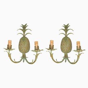 Lámparas en forma de piña de bronce, años 70. Juego de 2