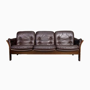 Rosewood & Leather 3-Seater Sofas by Georg Thams for Vejen Polstermøbelfabrik, 1960s