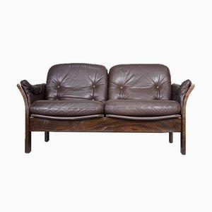 Sofá de dos plazas de palisandro y cuero de Georg Thams para Vejen Polstermøbelfabrik, años 60