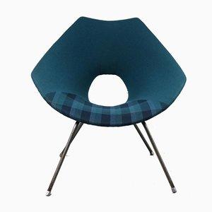Blauer italienischer Sessel von Augusto Bozzi für Saporiti Italia, 1950er