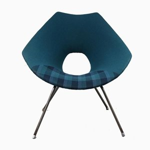 Italian Blue Lounge Chair by Augusto Bozzi for Saporiti Italia, 1950s